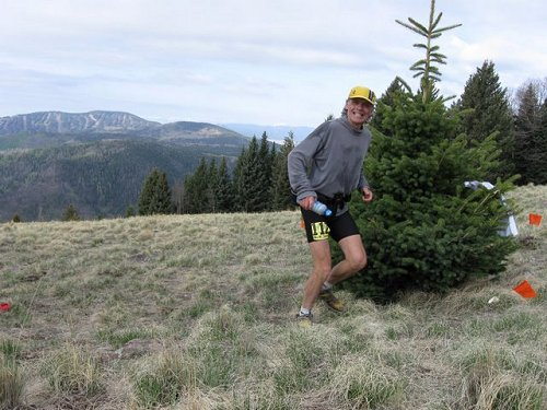 Larry Creveling at top of Caballo Mountain at Jemez Mountain Trail 50M - Jedirunner